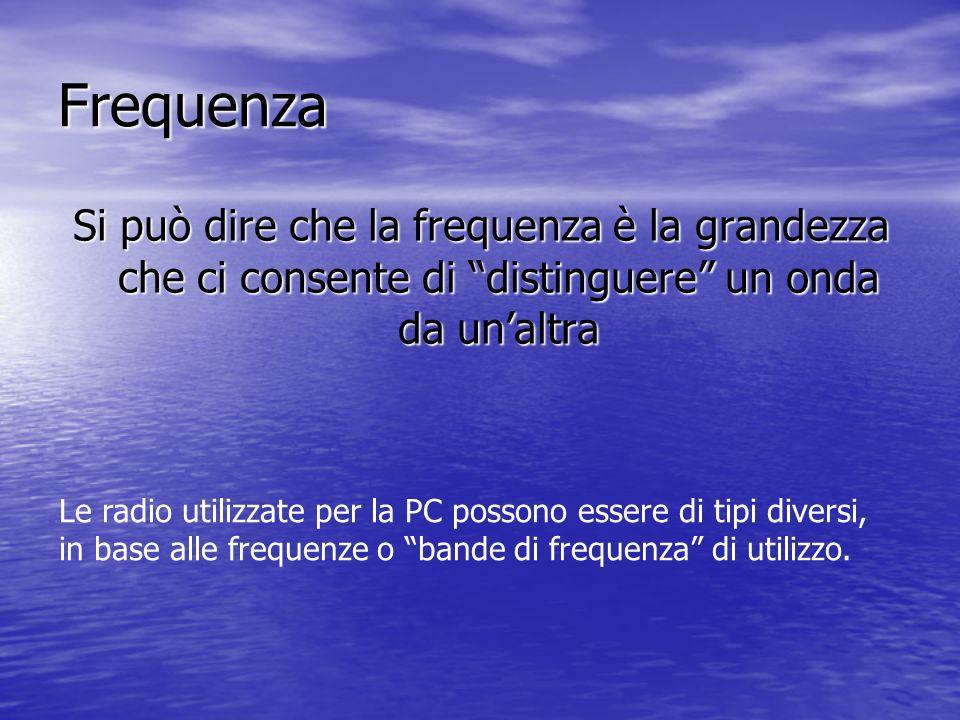 Frequenza Si può dire che la frequenza è la grandezza che ci consente di distinguere un onda da unaltra Le radio utilizzate per la PC possono essere d