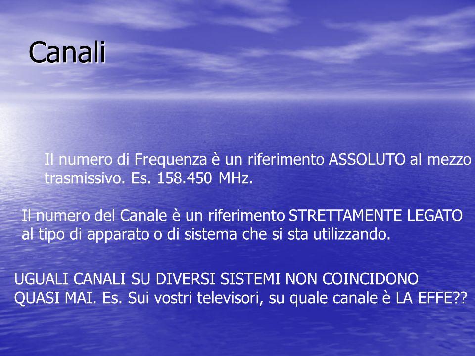 Canali Il numero di Frequenza è un riferimento ASSOLUTO al mezzo trasmissivo. Es. 158.450 MHz. Il numero del Canale è un riferimento STRETTAMENTE LEGA