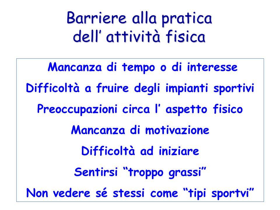 Barriere alla pratica dell attività fisica Mancanza di tempo o di interesse Difficoltà a fruire degli impianti sportivi Preoccupazioni circa l aspetto