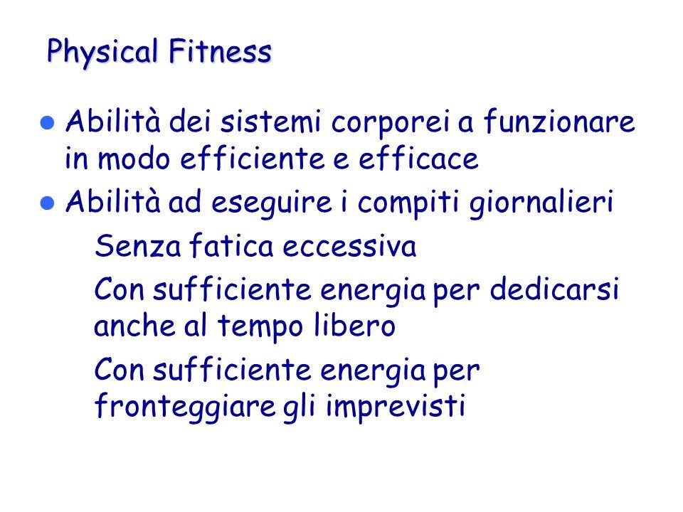 Physical Fitness Abilità dei sistemi corporei a funzionare in modo efficiente e efficace Abilità ad eseguire i compiti giornalieri – Senza fatica ecce