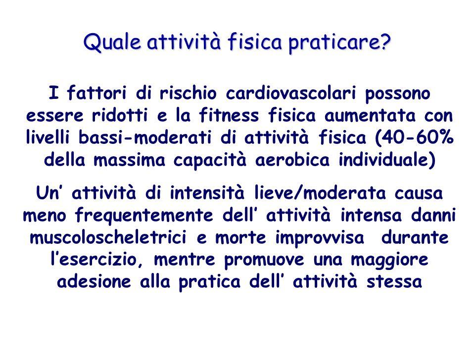 Quale attività fisica praticare? I fattori di rischio cardiovascolari possono essere ridotti e la fitness fisica aumentata con livelli bassi-moderati