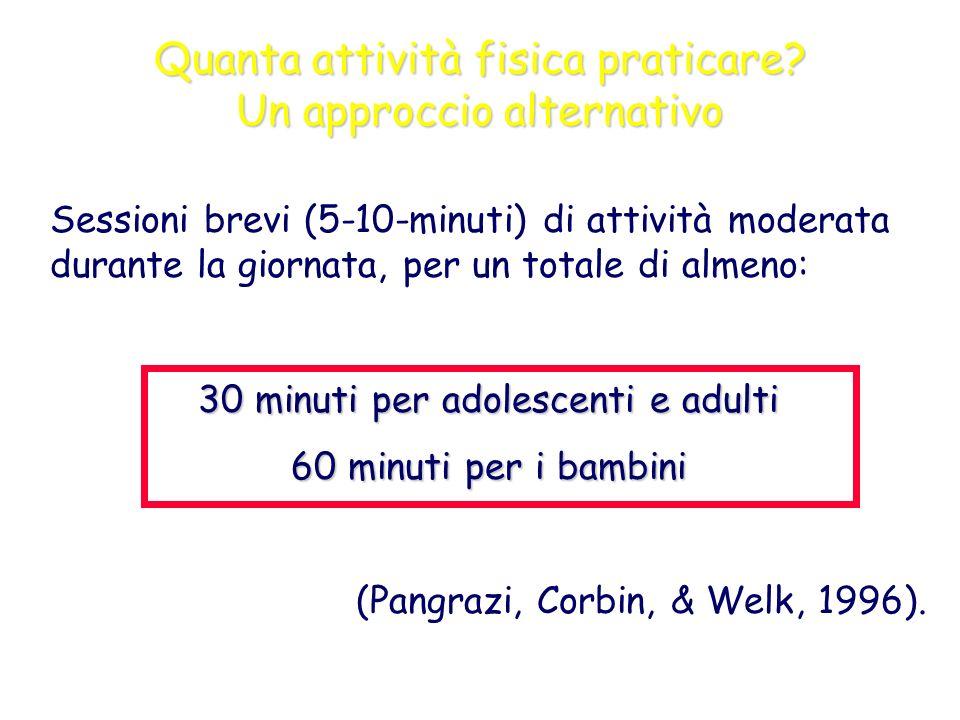 Quanta attività fisica praticare? Un approccio alternativo Sessioni brevi (5-10-minuti) di attività moderata durante la giornata, per un totale di alm