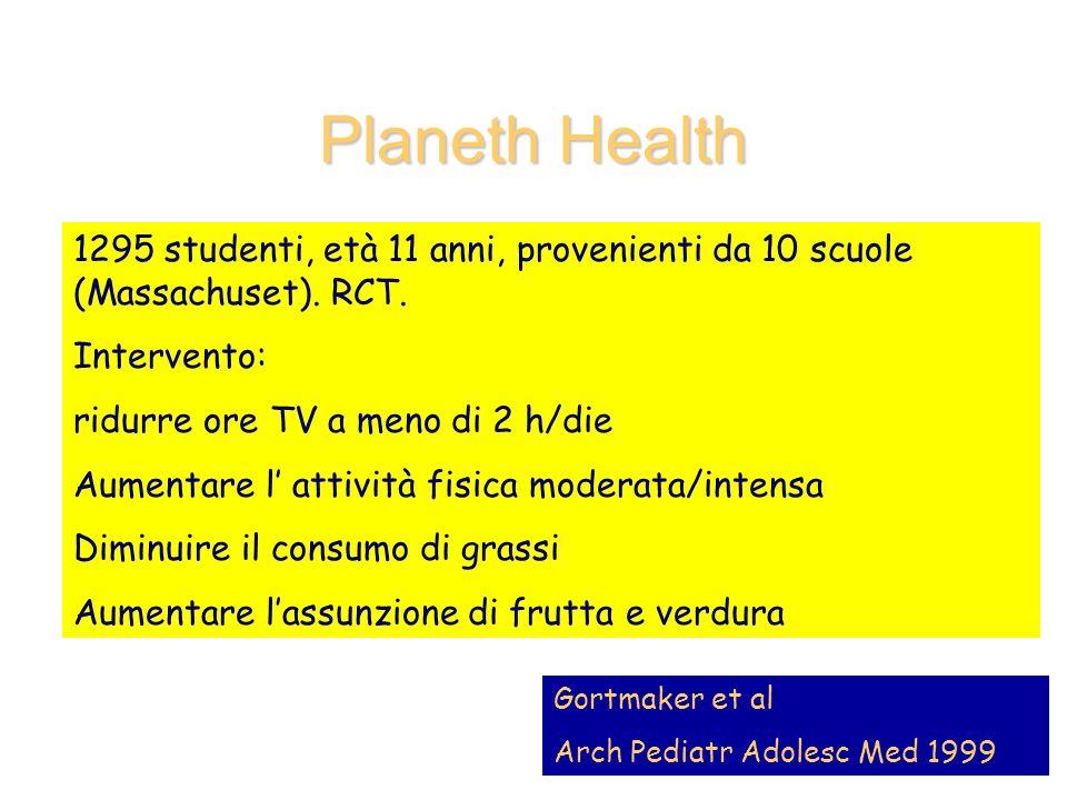 Planeth Health 1295 studenti, età 11 anni, provenienti da 10 scuole (Massachuset). RCT. Intervento: ridurre ore TV a meno di 2 h/die Aumentare l attiv