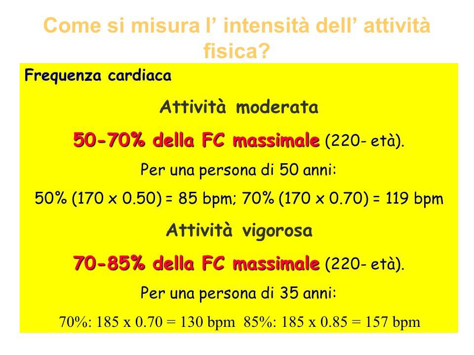 Come si misura l intensità dell attività fisica? Frequenza cardiaca Attività moderata 50-70% della FC massimale 50-70% della FC massimale (220- età).