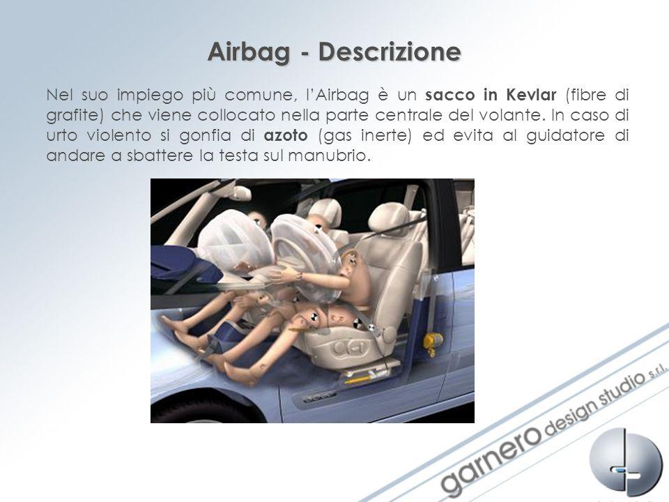 Airbag - Descrizione Nel suo impiego più comune, lAirbag è un sacco in Kevlar (fibre di grafite) che viene collocato nella parte centrale del volante.