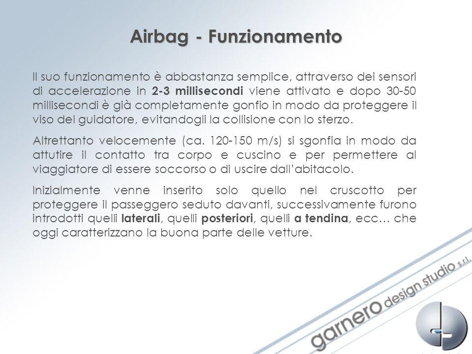 Airbag - Funzionamento Il suo funzionamento è abbastanza semplice, attraverso dei sensori di accelerazione in 2-3 millisecondi viene attivato e dopo 3