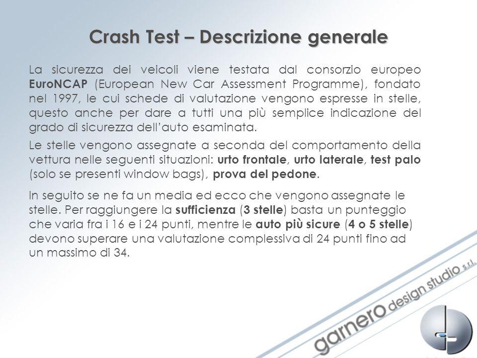 Crash Test – Descrizione generale La sicurezza dei veicoli viene testata dal consorzio europeo EuroNCAP (European New Car Assessment Programme), fonda