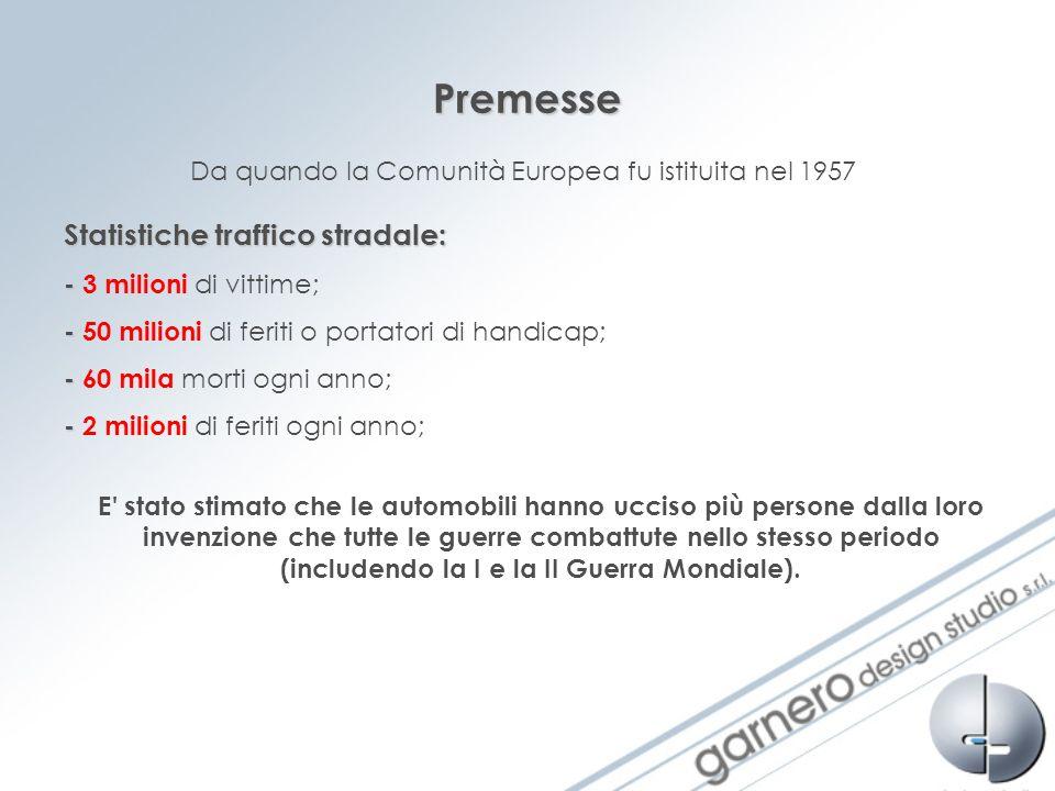 Premesse Da quando la Comunità Europea fu istituita nel 1957 Statistiche traffico stradale: - - 3 milioni di vittime; - - 50 milioni di feriti o porta