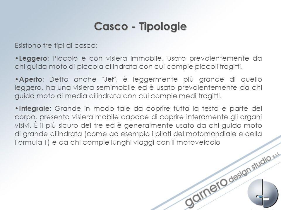 Casco - Tipologie Esistono tre tipi di casco: Leggero : Piccolo e con visiera immobile, usato prevalentemente da chi guida moto di piccola cilindrata