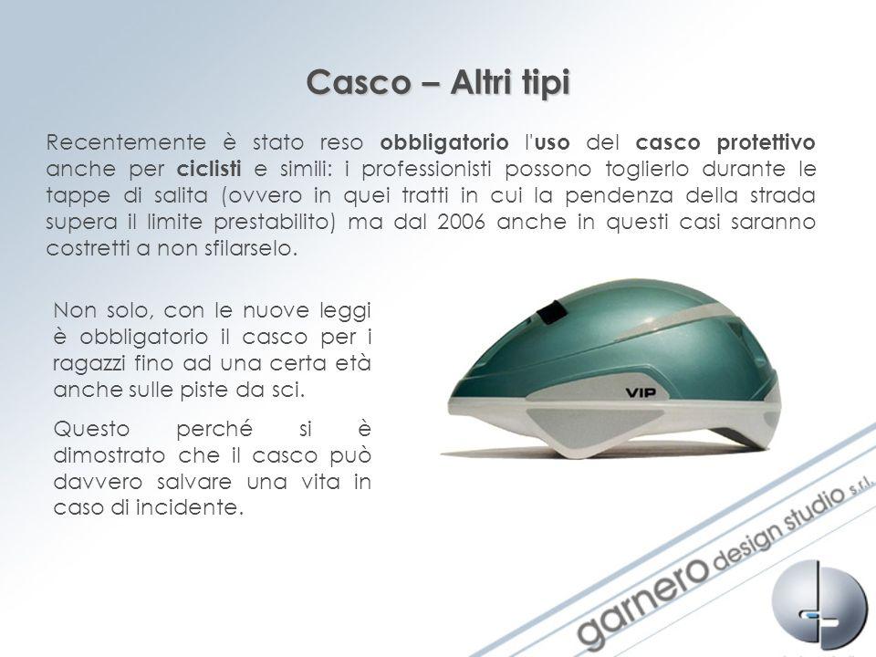 Casco – Altri tipi Recentemente è stato reso obbligatorio l' uso del casco protettivo anche per ciclisti e simili: i professionisti possono toglierlo