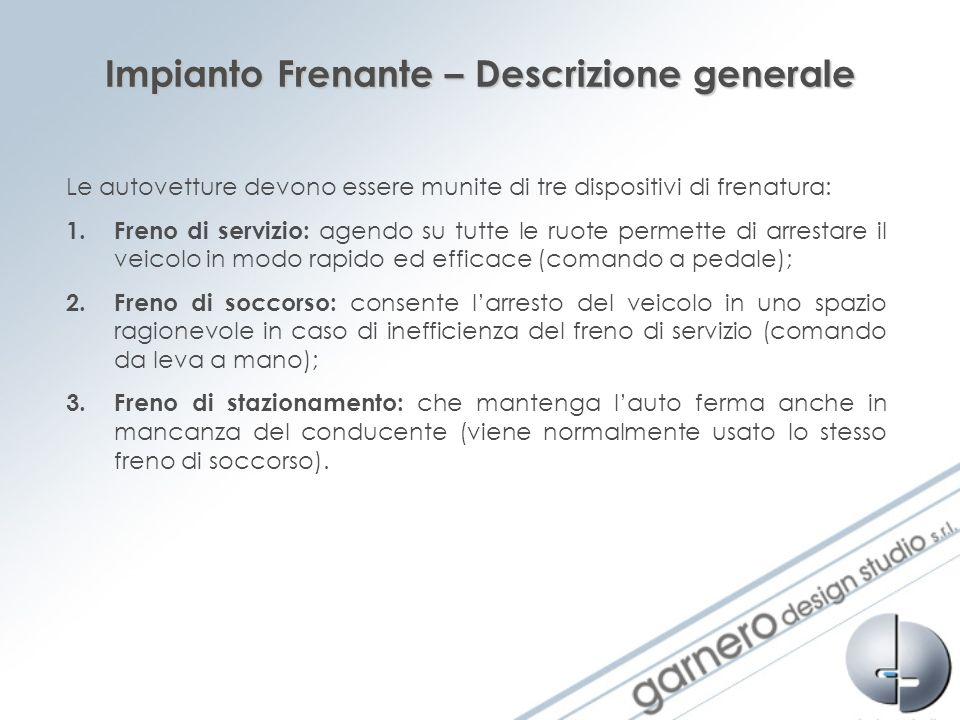 Impianto Frenante – Descrizione generale Le autovetture devono essere munite di tre dispositivi di frenatura: 1.Freno di servizio: agendo su tutte le