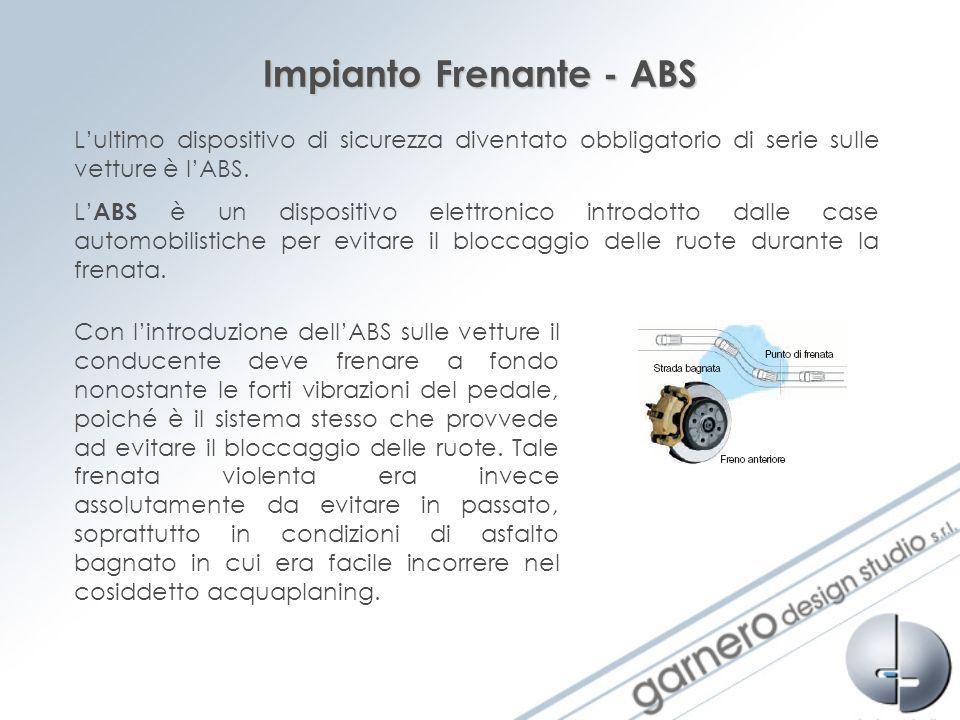 Impianto Frenante - ABS Lultimo dispositivo di sicurezza diventato obbligatorio di serie sulle vetture è lABS. L ABS è un dispositivo elettronico intr