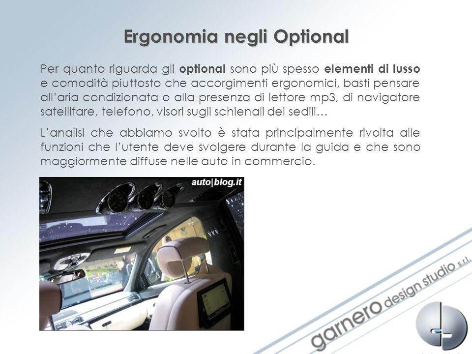 Ergonomia negli Optional Per quanto riguarda gli optional sono più spesso elementi di lusso e comodità piuttosto che accorgimenti ergonomici, basti pe