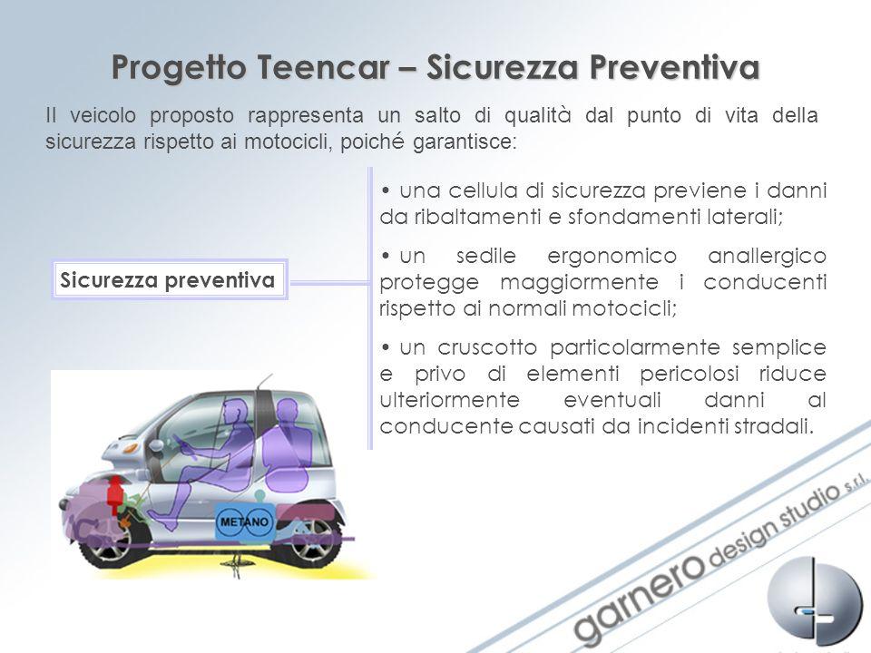 Progetto Teencar – Sicurezza Preventiva Il veicolo proposto rappresenta un salto di qualit à dal punto di vita della sicurezza rispetto ai motocicli,