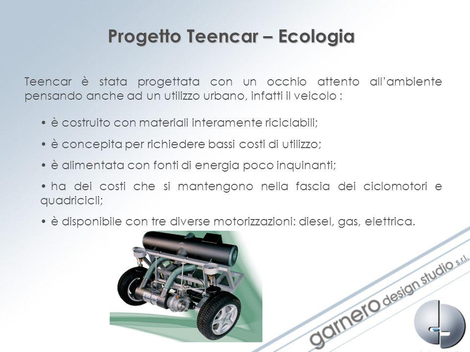 Progetto Teencar – Ecologia Teencar è stata progettata con un occhio attento allambiente pensando anche ad un utilizzo urbano, infatti il veicolo : è