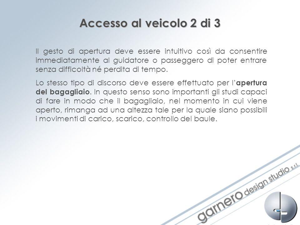 Accesso al veicolo 2 di 3 Il gesto di apertura deve essere intuitivo così da consentire immediatamente al guidatore o passeggero di poter entrare senz