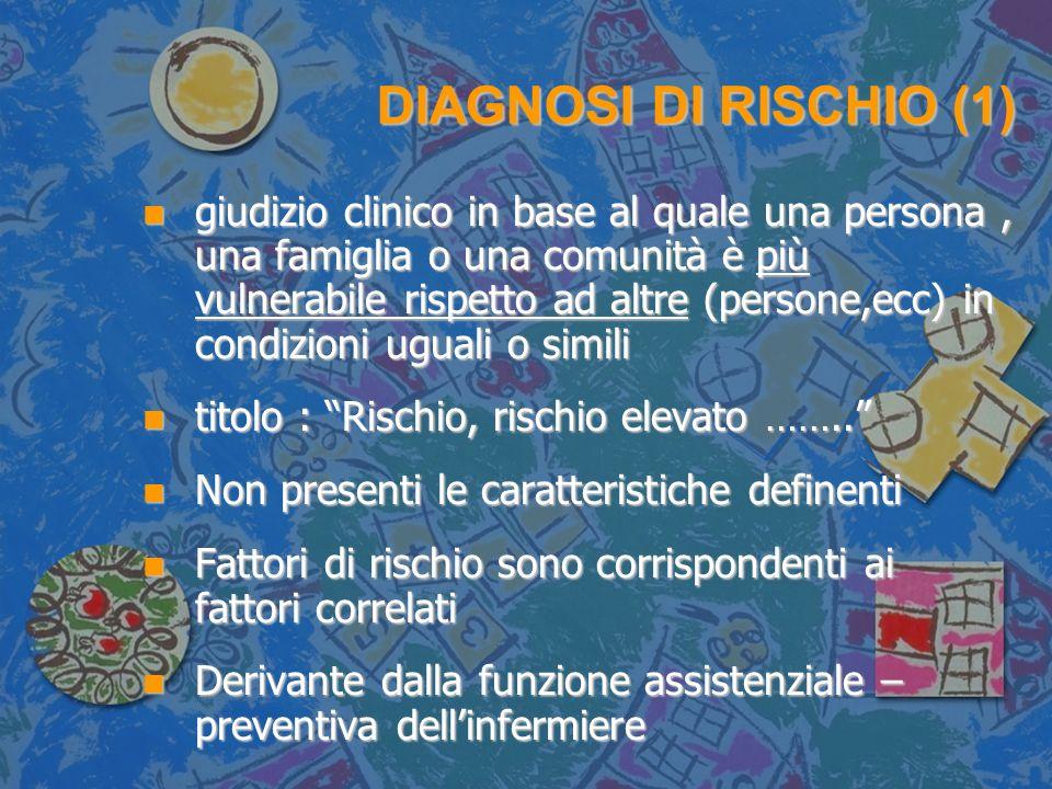 DIAGNOSI DI RISCHIO (1) n giudizio clinico in base al quale una persona, una famiglia o una comunità è più vulnerabile rispetto ad altre (persone,ecc)