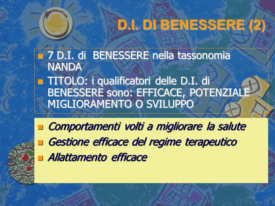 D.I. DI BENESSERE (2) n 7 D.I. di BENESSERE nella tassonomia NANDA n TITOLO: i qualificatori delle D.I. di BENESSERE sono: EFFICACE, POTENZIALE MIGLIO