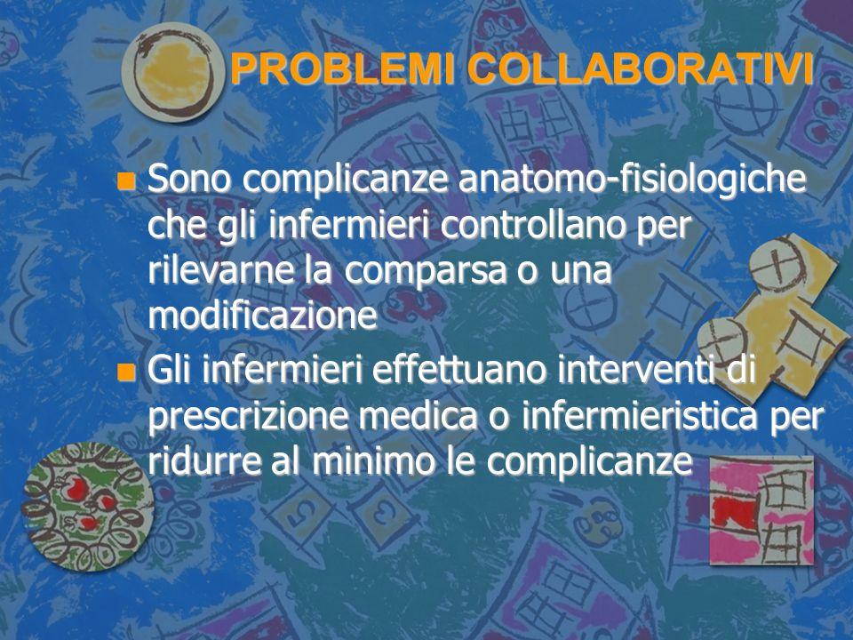 PROBLEMI COLLABORATIVI n Sono complicanze anatomo-fisiologiche che gli infermieri controllano per rilevarne la comparsa o una modificazione n Gli infermieri effettuano interventi di prescrizione medica o infermieristica per ridurre al minimo le complicanze
