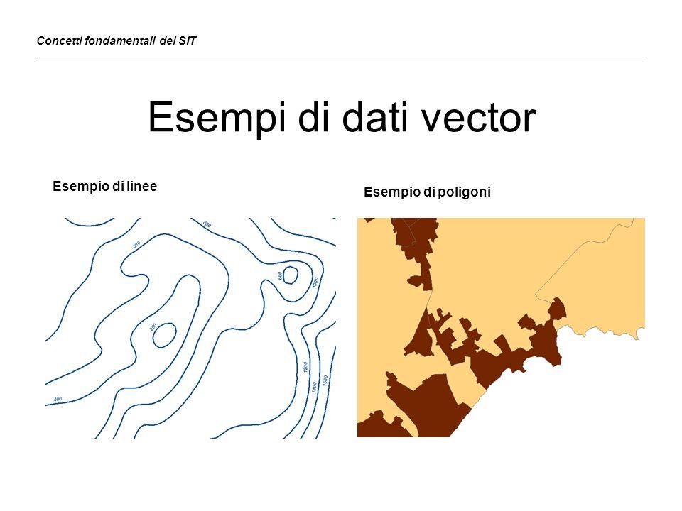 Esempi di dati vector Esempio di linee Esempio di poligoni Concetti fondamentali dei SIT