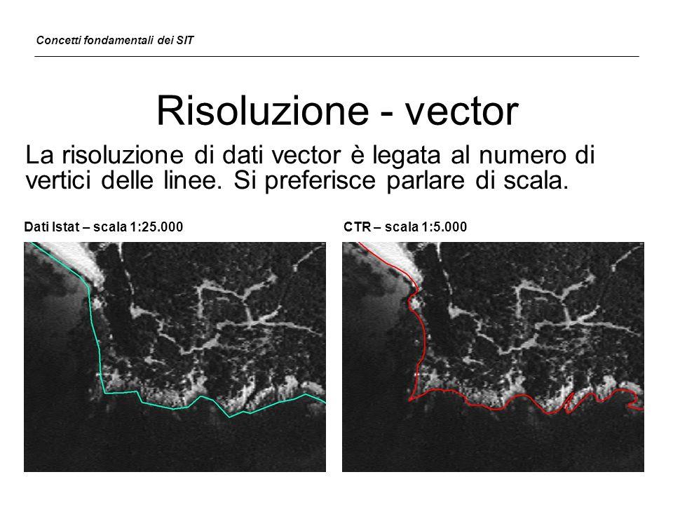 Risoluzione - vector Dati Istat – scala 1:25.000 CTR – scala 1:5.000 La risoluzione di dati vector è legata al numero di vertici delle linee. Si prefe