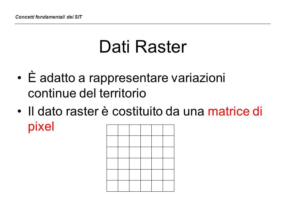 Risoluzione e scala La risoluzione geometrica indica la dimensione del più piccolo elemento territoriale rappresentabile È associata sia ai dati raster che vector Alla risoluzione geometrica è legato il concetto di scala di restituzione Concetti fondamentali dei SIT