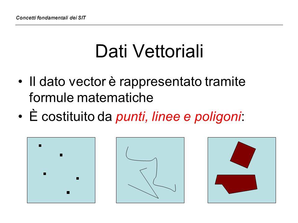 Dati Vettoriali Il dato vector è rappresentato tramite formule matematiche È costituito da punti, linee e poligoni: Concetti fondamentali dei SIT