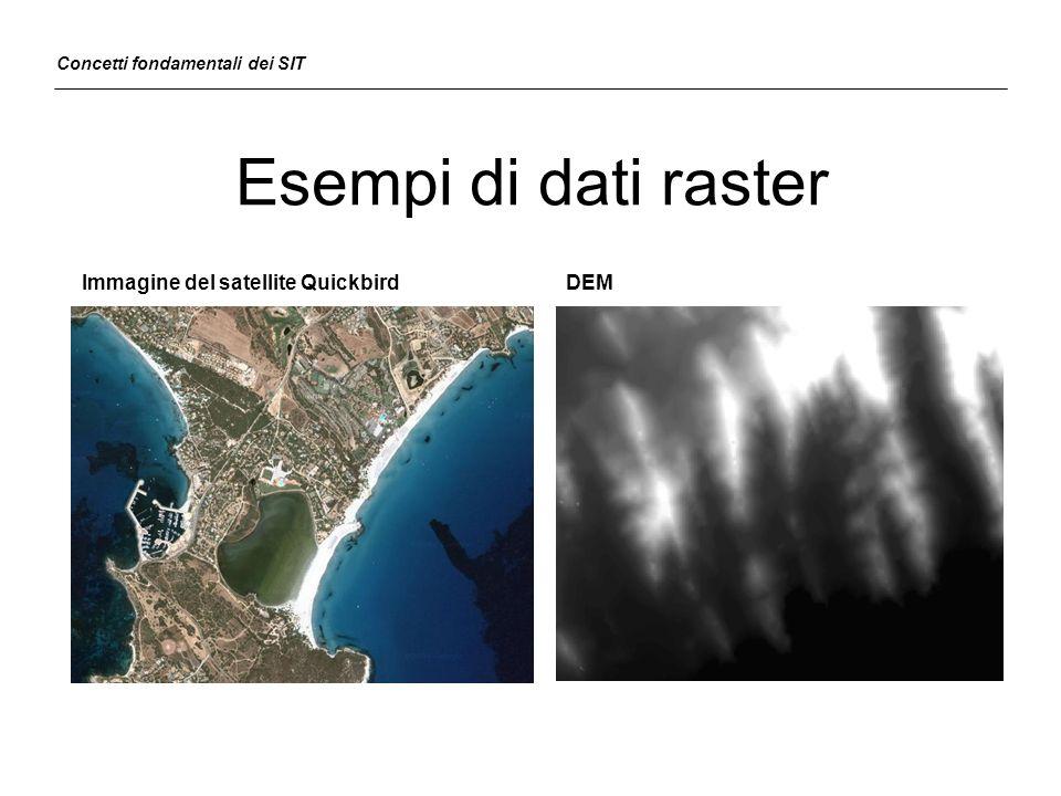 Esempi di dati raster Immagine del satellite QuickbirdDEM Concetti fondamentali dei SIT