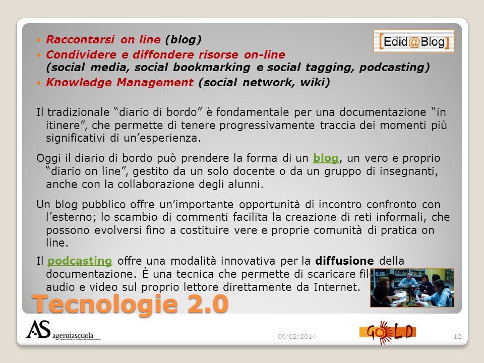 Tecnologie 2.0 Raccontarsi on line (blog) Condividere e diffondere risorse on-line (social media, social bookmarking e social tagging, podcasting) Kno