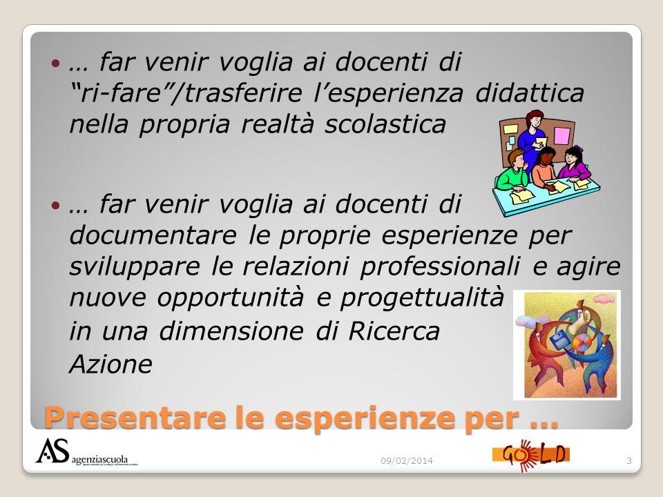 Presentare le esperienze per … … far venir voglia ai docenti di ri-fare/trasferire lesperienza didattica nella propria realtà scolastica … far venir v