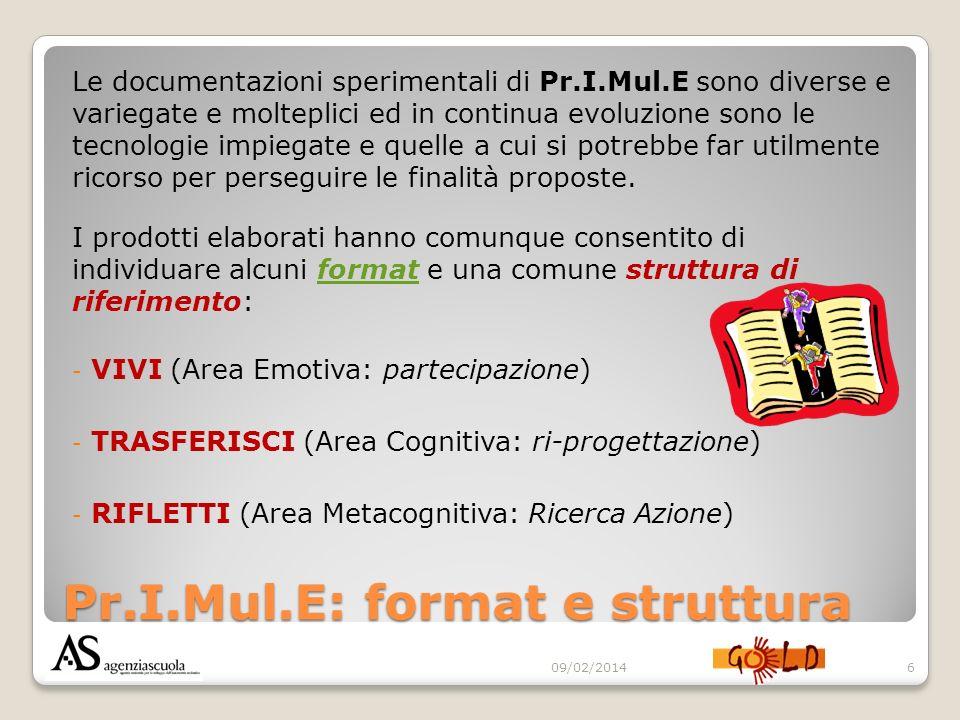 Pr.I.Mul.E: format e struttura Le documentazioni sperimentali di Pr.I.Mul.E sono diverse e variegate e molteplici ed in continua evoluzione sono le te