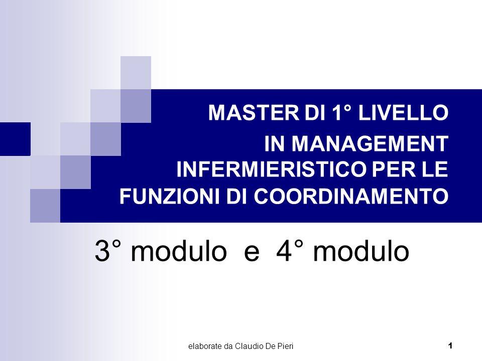 elaborate da Claudio De Pieri 1 3° modulo e 4° modulo MASTER DI 1° LIVELLO IN MANAGEMENT INFERMIERISTICO PER LE FUNZIONI DI COORDINAMENTO