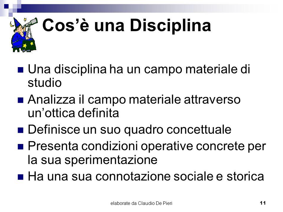 elaborate da Claudio De Pieri11 Cosè una Disciplina Una disciplina ha un campo materiale di studio Analizza il campo materiale attraverso unottica def