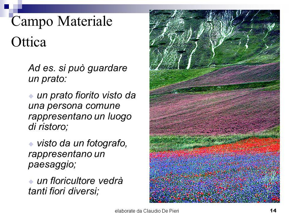 elaborate da Claudio De Pieri14 Campo Materiale Ottica Ad es. si può guardare un prato: un prato fiorito visto da una persona comune rappresentano un