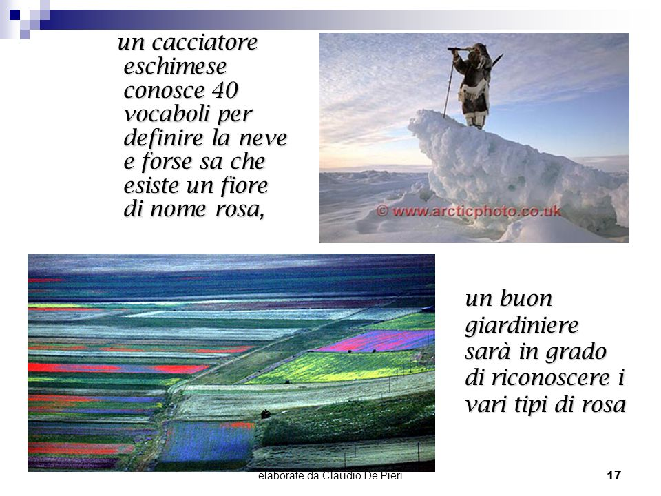 elaborate da Claudio De Pieri17 un buon giardiniere sarà in grado di riconoscere i vari tipi di rosa un cacciatore eschimese conosce 40 vocaboli per d