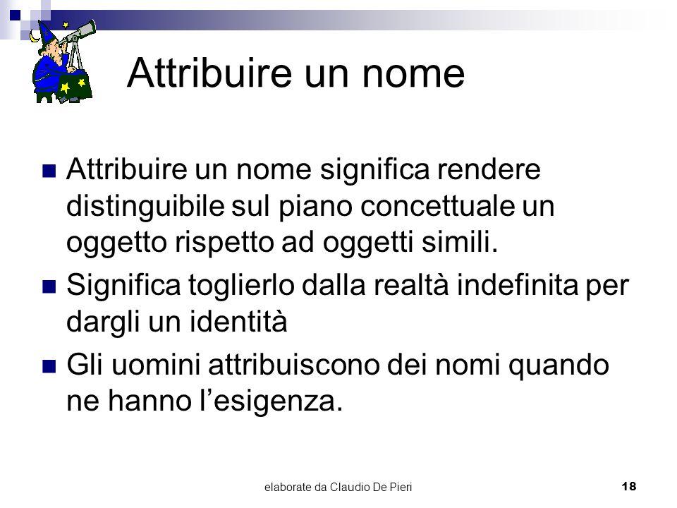 elaborate da Claudio De Pieri18 Attribuire un nome Attribuire un nome significa rendere distinguibile sul piano concettuale un oggetto rispetto ad ogg