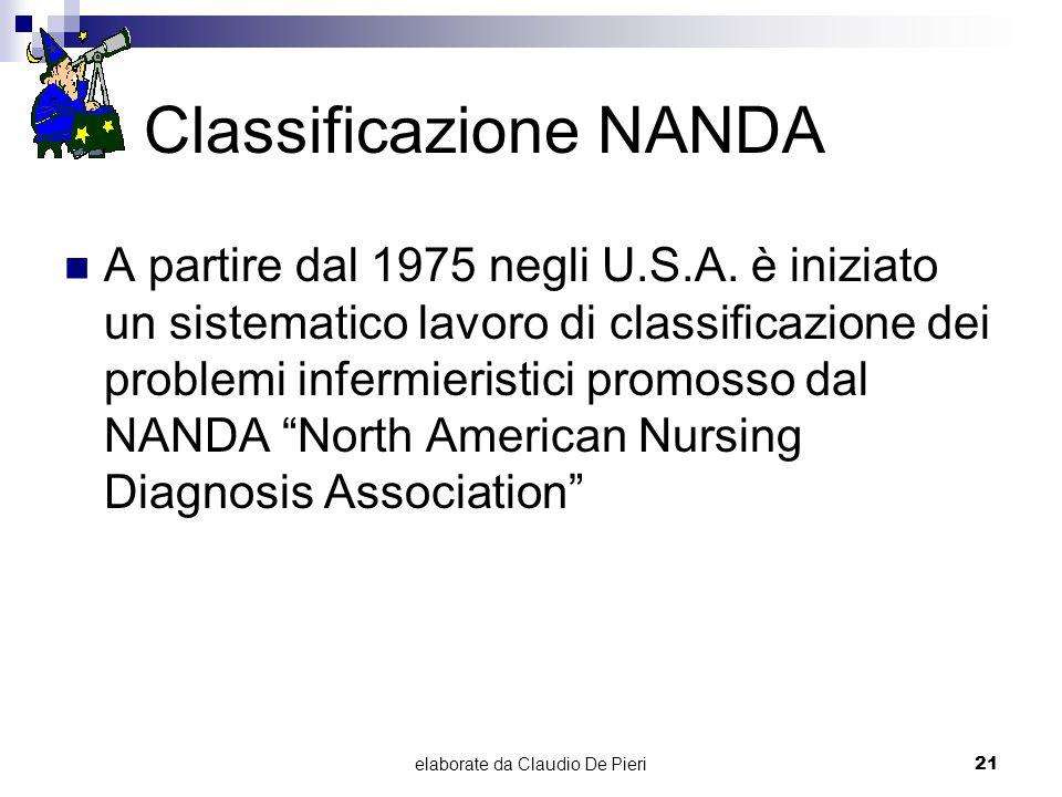 elaborate da Claudio De Pieri21 Classificazione NANDA A partire dal 1975 negli U.S.A. è iniziato un sistematico lavoro di classificazione dei problemi