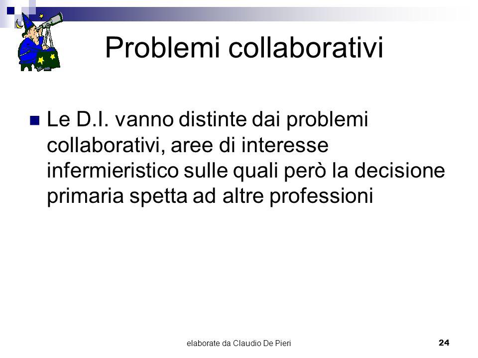 elaborate da Claudio De Pieri24 Problemi collaborativi Le D.I. vanno distinte dai problemi collaborativi, aree di interesse infermieristico sulle qual