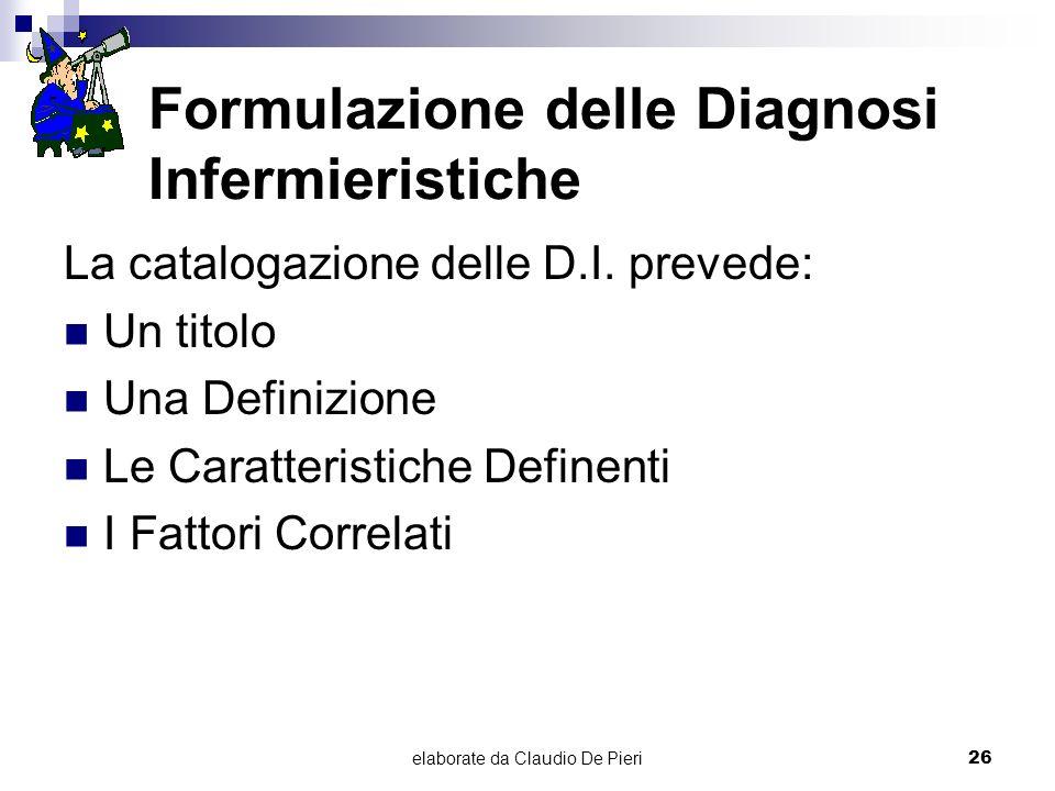 elaborate da Claudio De Pieri26 Formulazione delle Diagnosi Infermieristiche La catalogazione delle D.I. prevede: Un titolo Una Definizione Le Caratte