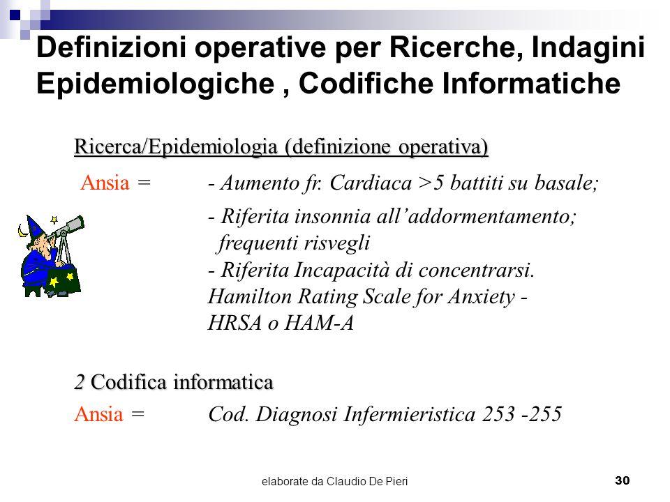 elaborate da Claudio De Pieri30 Definizioni operative per Ricerche, Indagini Epidemiologiche, Codifiche Informatiche Ricerca/Epidemiologia (definizion