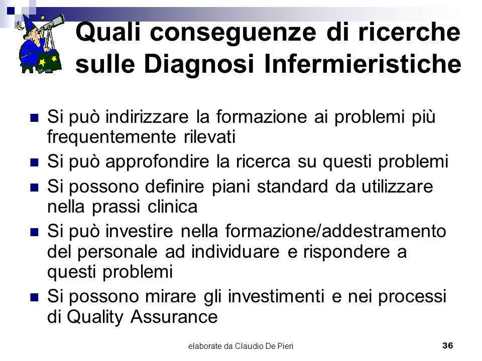 elaborate da Claudio De Pieri36 Quali conseguenze di ricerche sulle Diagnosi Infermieristiche Si può indirizzare la formazione ai problemi più frequen