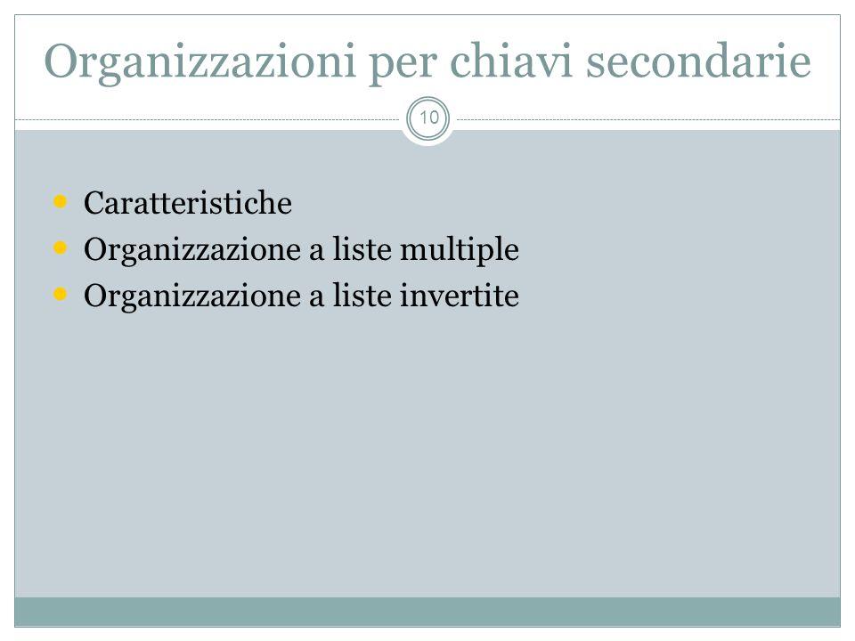Organizzazioni per chiavi secondarie 10 Caratteristiche Organizzazione a liste multiple Organizzazione a liste invertite