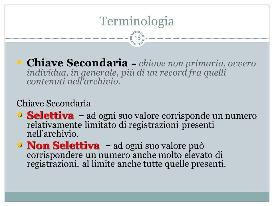 Terminologia 18 Chiave Secondaria = chiave non primaria, ovvero individua, in generale, più di un record fra quelli contenuti nellarchivio.