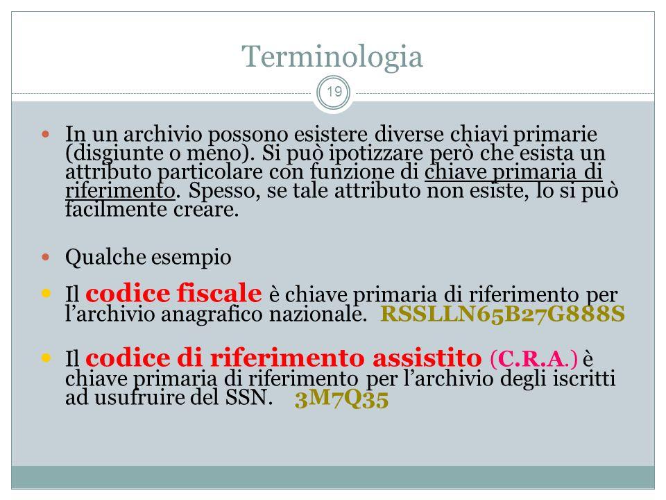 Terminologia 19 In un archivio possono esistere diverse chiavi primarie (disgiunte o meno).