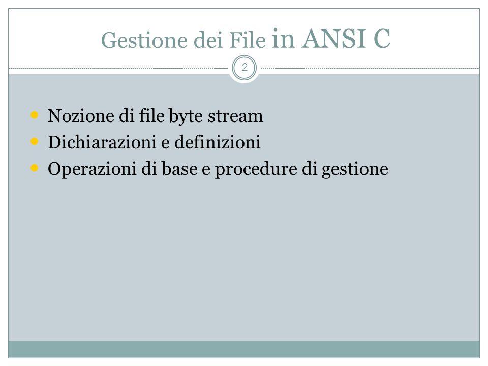 Gestione dei File in ANSI C 2 Nozione di file byte stream Dichiarazioni e definizioni Operazioni di base e procedure di gestione