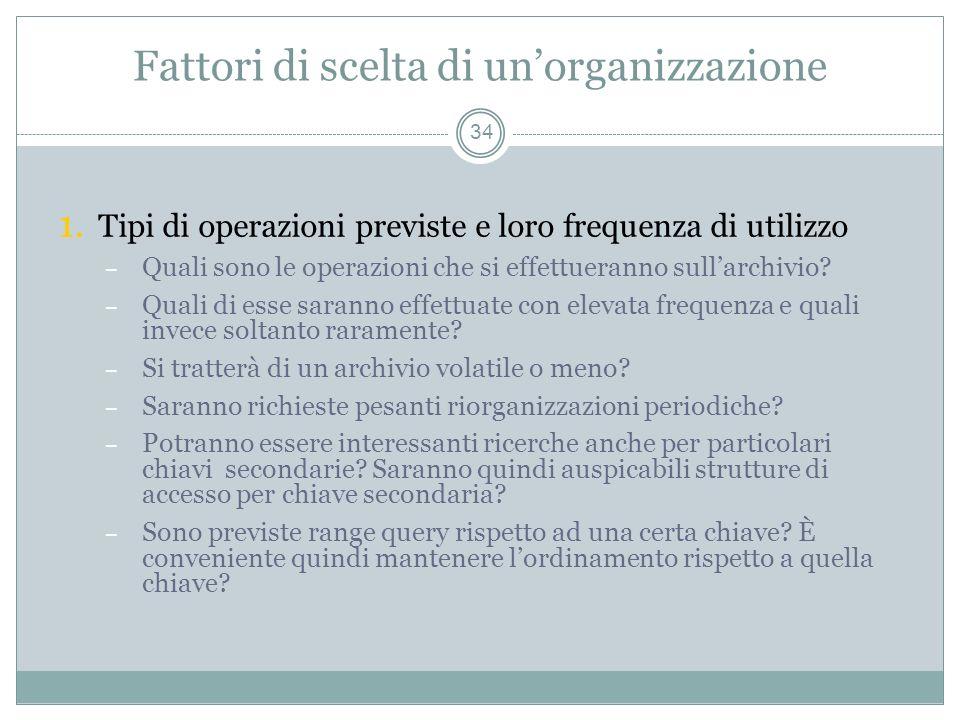 Fattori di scelta di unorganizzazione 34 1.