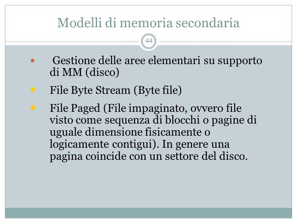 Modelli di memoria secondaria 44 Gestione delle aree elementari su supporto di MM (disco) File Byte Stream (Byte file) File Paged (File impaginato, ovvero file visto come sequenza di blocchi o pagine di uguale dimensione fisicamente o logicamente contigui).