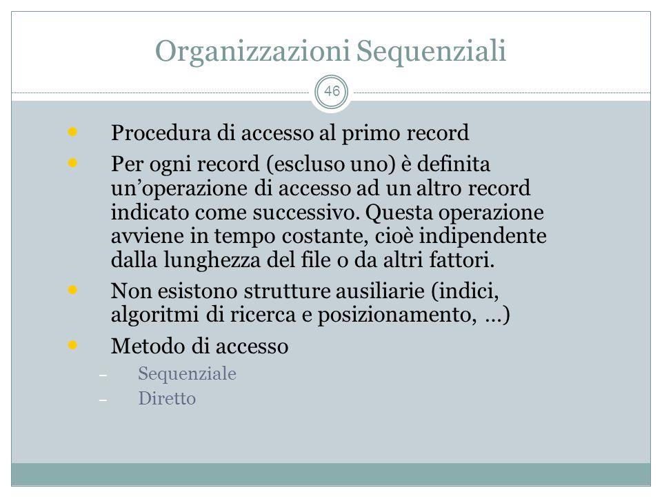 Organizzazioni Sequenziali 46 Procedura di accesso al primo record Per ogni record (escluso uno) è definita unoperazione di accesso ad un altro record indicato come successivo.