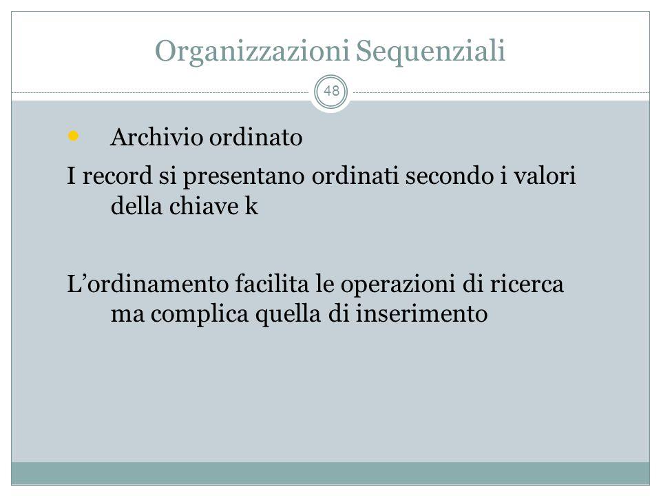 Organizzazioni Sequenziali 48 Archivio ordinato I record si presentano ordinati secondo i valori della chiave k Lordinamento facilita le operazioni di ricerca ma complica quella di inserimento
