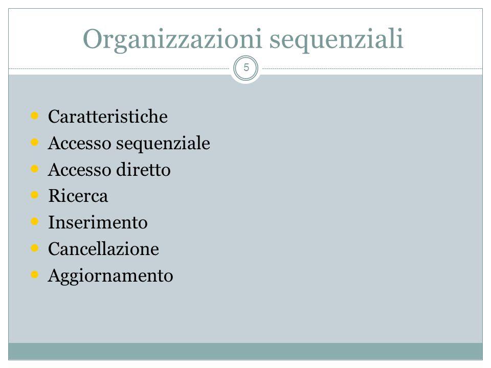 Organizzazioni sequenziali 5 Caratteristiche Accesso sequenziale Accesso diretto Ricerca Inserimento Cancellazione Aggiornamento